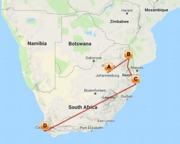 South Africa map Timbavatu, Phinda, Cape Town