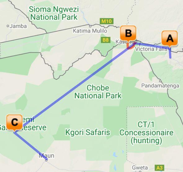 Botswana Chobe and Okavango Delta map
