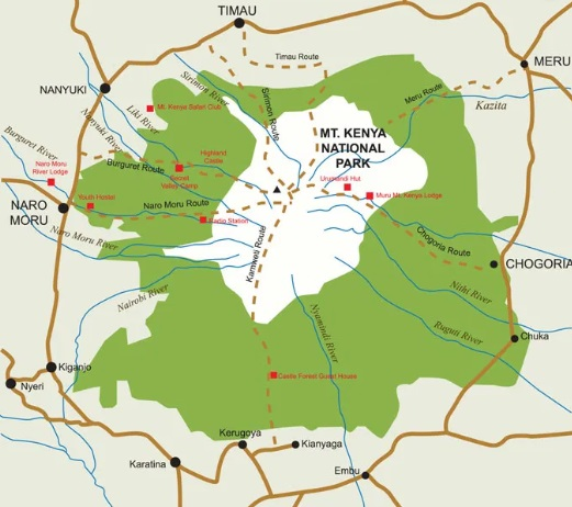 Mount Kenya Trail Map
